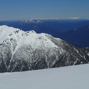 Snowy Mountains Backcountry SMBC - Alice Rawson Ridge, Mt Bogong & Bogong Highplain VIC in the distance