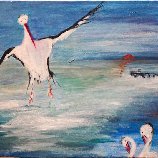 Coming in to Land - Oil on Canvas 18inch