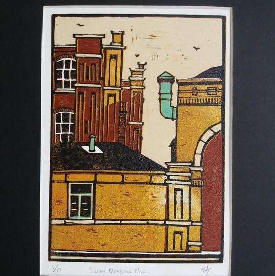 Swan Meadow Mill - Linocut Print - NFS.j