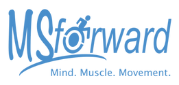 """Logo spelling MSforward with blue text. The slogan, """"Mind. Muscle. Movement."""" is displayed on the bottom."""