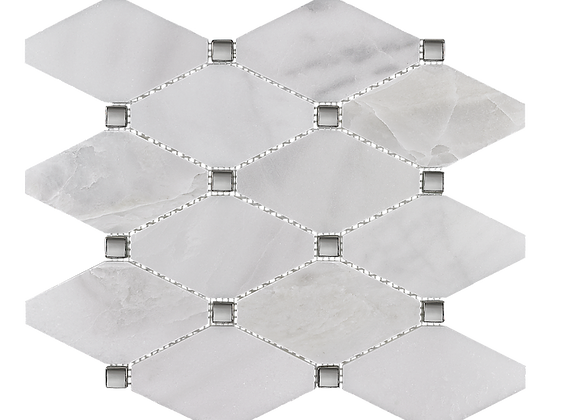 Pearl White With Chrome Studs Mosaic
