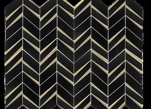 Glass Chevron Brass Black