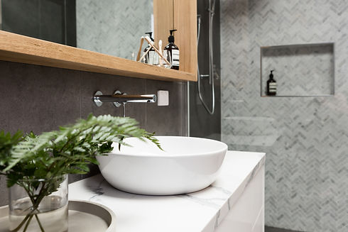 Bathroom details clean white basin with