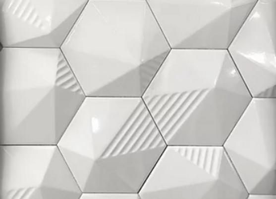 Hexagon White 3D Umbrella