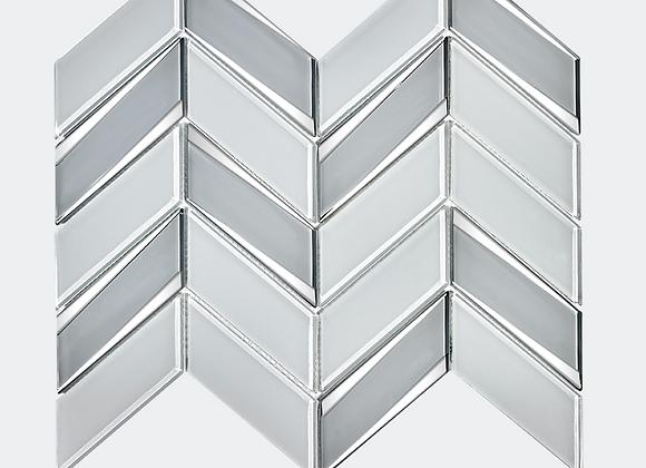 Glass Chevron Chrome White