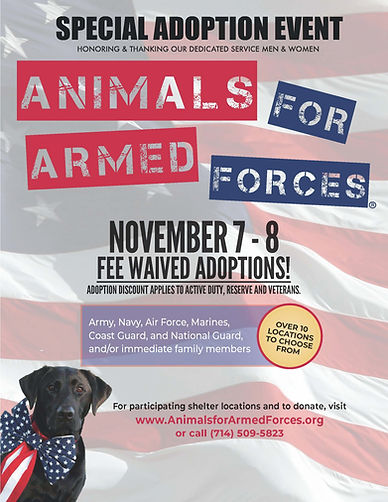 Nov 2020 Animals for Armed Forces Flyer.