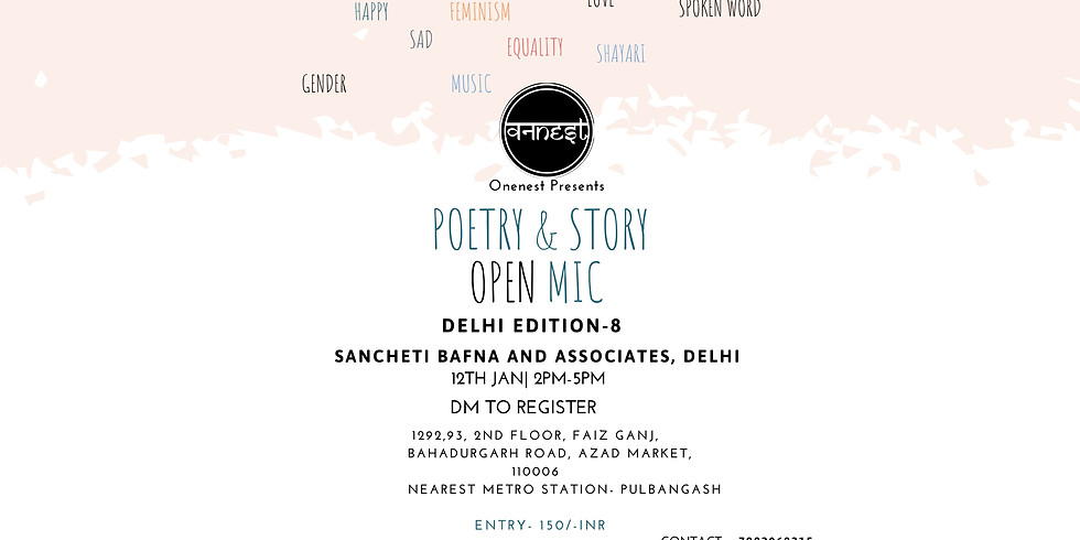 Poetry and Storytelling Open mic- Delhi Edition 8