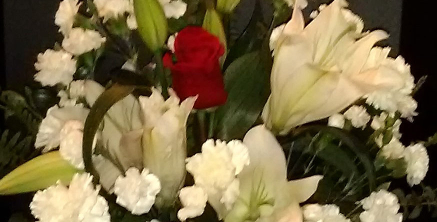 White Lily and Carnation w/single Red Rose