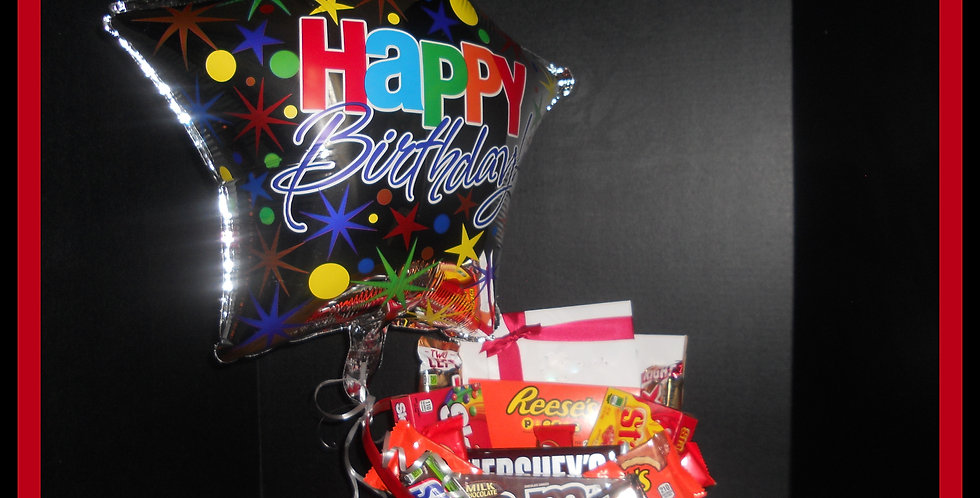 Candy Bar Birthday Basket w/Mylar Balloon
