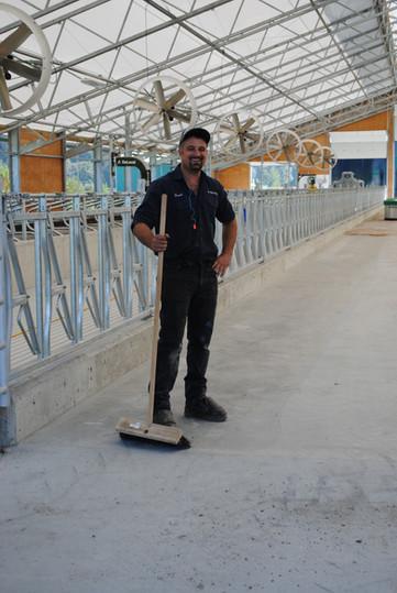 Frank Neels sweeping before testing a Moov