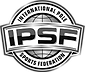 Black and white picture of the International Pole Sports Federation logo which consists of the letter IPSF in all caps on a banner across a globe and International Pole Sports Federal written around the outer edges of the globe.