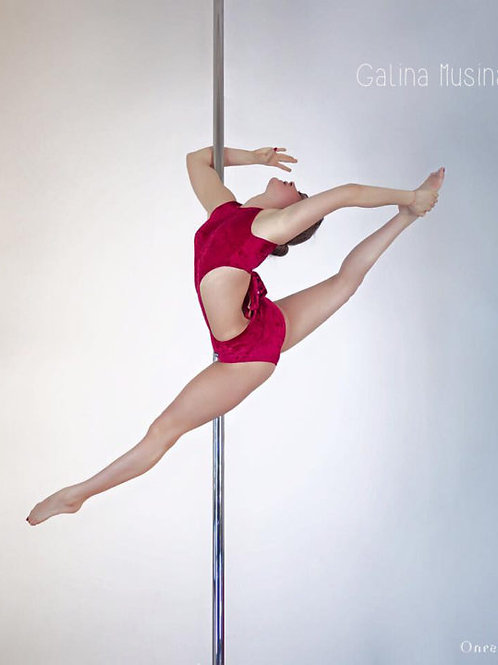 Backbone Polewear Red Velvet Bow Tie Leotard - S/M