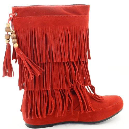 Red Fringe Boots Size 6.5
