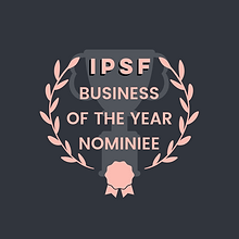 A pink and grey graphic with the words IPSF Business of the Year Nominee surrounded by a pink laurel wreath and an award ribbon. This is overlayed on a grey graphic of a trophy.