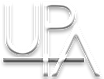 Black and white picture of the UPA (United Pole Artists) logo which consists of the letters UPA.
