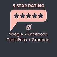 A pink graphic that says 5 Star Rating over top of a drawing of 5 stars in a pink comment bubble graphic. Underneath there is a check mark indicated 5 Stars on Google, Facebook, ClassPass and Groupon.