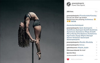 Power Pole Sports instagram, social media, follow, kriston leagh, training, coach, dance, fitness, tutorials, online, classes, olympics, best, leader