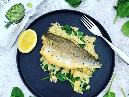 Sea Bass With Spinach & Artichoke Orzo Risotto