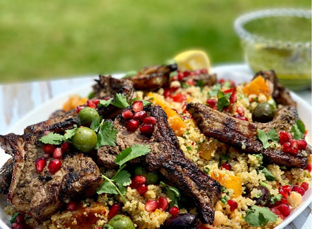 BBQ Middle Eastern Lamb Chops & Roasted Vegetable Quinoa