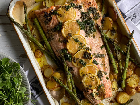 Roast Salmon Potato & Asparagus Traybake with a Lemon Mint Parsley & Garlic Drizzle
