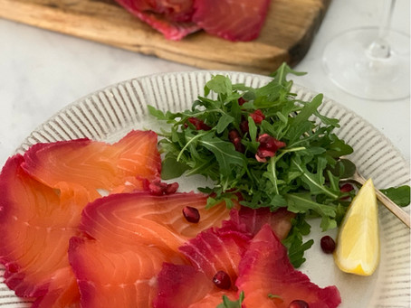 Beetroot, Orange & Gin Cured Salmon