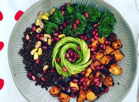 Vegan Harissa Aubergine, with Lentils & Kalettes