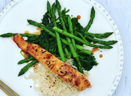 Miso Glazed Salmon with Spinach & Asparagus