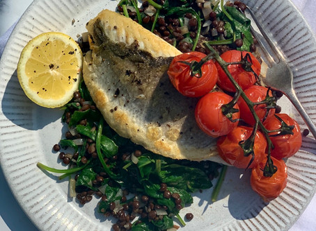 15 minute Sea Bass with Spinach & Lentils