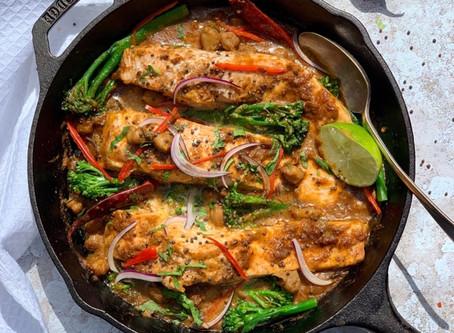 Salmon, Chickpea & Broccolini Curry