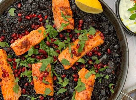 Middle Eastern Black Rice Paella