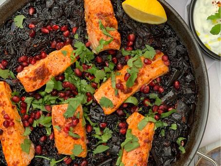 Middle Eastern Black Rice Paella
