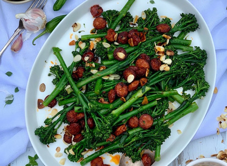 [AD] Spanish Tenderstem® with chorizo, garlic & almonds