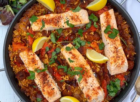 Oven Baked Salmon & Chorizo Paella