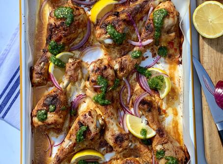 Tandoori Chicken Drumsticks with Coriander & Chilli Chutney