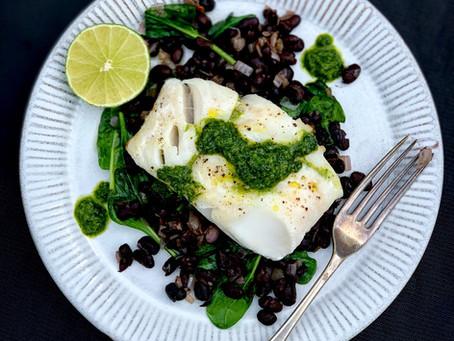 Roast Cod, with Black Beans & Gin Chimichurri