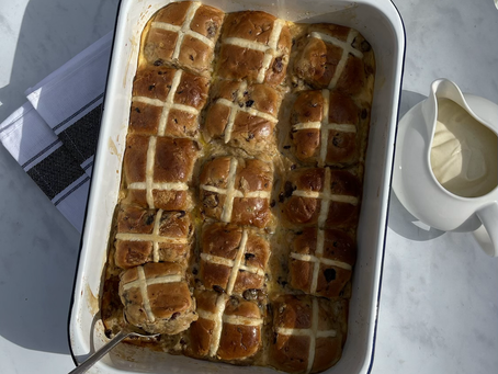 Hot Cross Bun & Butter Pudding