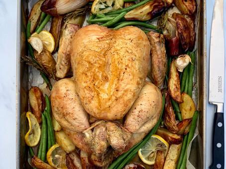 Lemon & Rosemary Roast Chicken Traybake, with potatoes & shallots