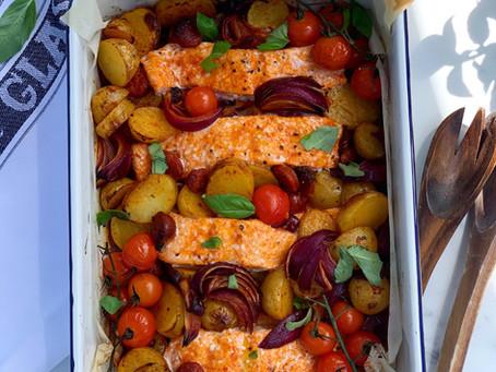 Salmon Chorizo & Potato Traybake