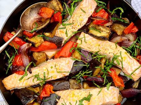 Salmon & Roasted Vegetable Traybake