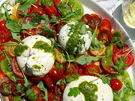 Isle of Wight Tomato & Burrata Salad, with Pistachio Pesto Dressing