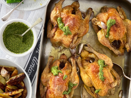 Roast Poussin with Salsa Verde