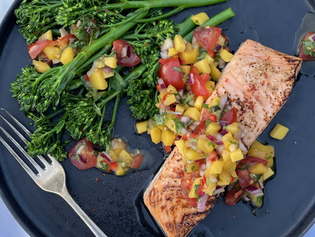 Glazed Roasted Salmon with Mango Salsa