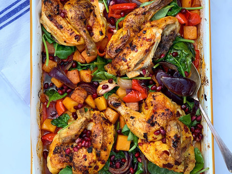 Harissa Poussin & Roasted Vegetable Traybake
