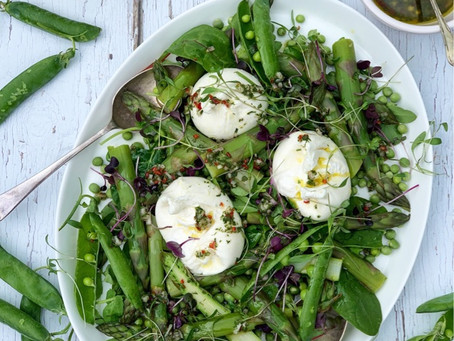 Burrata, British Asparagus & Pea Salad