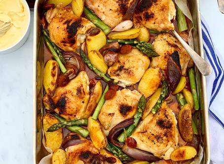 Chicken, Potato, Asparagus & Chorizo Traybake