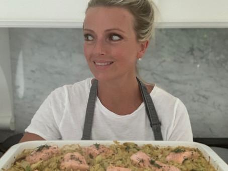 Baked Salmon & Leek Orzotto