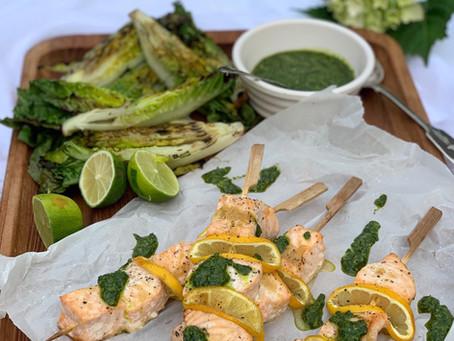 Salmon & Lemon Kebabs with Salsa Verde & Charred Lettuce