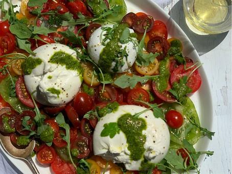 Isle of Wight Tomato & Burrata Salad, with Pistachio Pesto Dressing