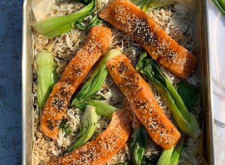 Asian Salmon Pak Choi & Rice Traybake
