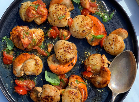 Scallops, with a Tomato, Basil & Lemon Dressing.
